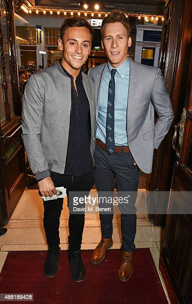 Tom Daley and Dustin Lance Black attend the press night performance of 'Photograph 51' at the Noel Coward Theatre on September 14 2015 in London...