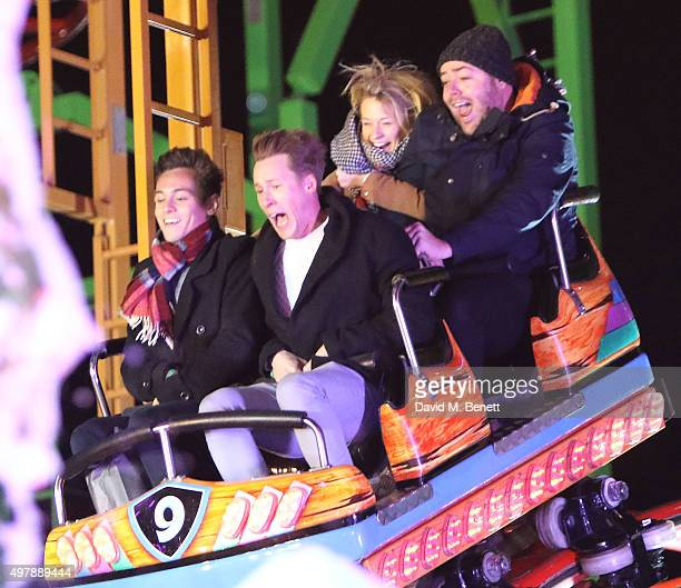 Tom Daley and Dustin Lance Black attend the VIP opening of Hyde Park's Winter Wonderland on November 19 2015 in London England