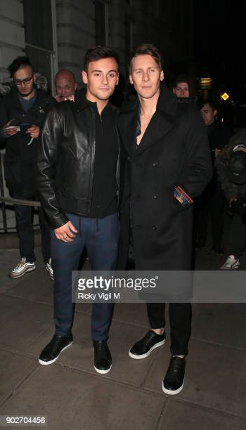 Tom Daley and Dustin Lance Black attends the GQ Dinner at Berners Tavern during London Fashion Week Men's January 2018 on January 8, 2018 in London,...