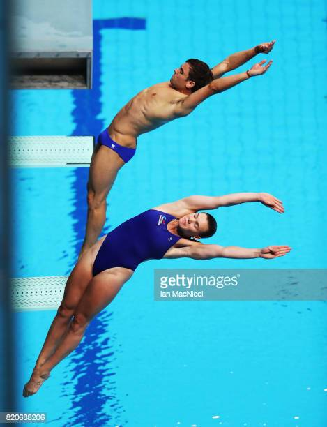 Tom Daley and Grace Reid of Great Britain compete in the Mixed 3m Synchro Springboard during day nine of the FINA World Championships at the Duna...