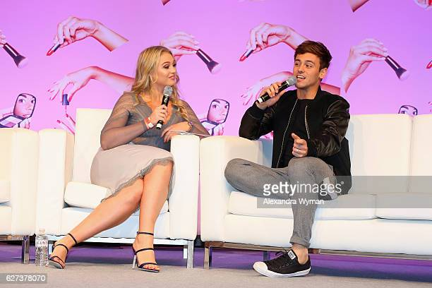 Tom Daley and Iskra Lawrence attend Beautycon Festival London 2016 at Olympia London on December 3 2016 in London England