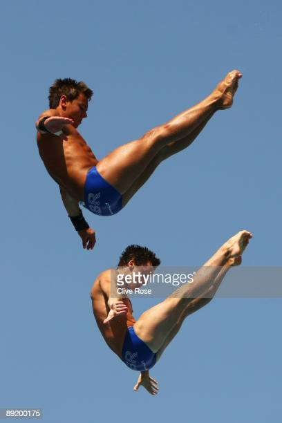 Tom Daley and Max Brick of Great Britain train for the Men's 10m Synchro Platform during the 13th FINA World Championships at Stadio del Nuoto on...