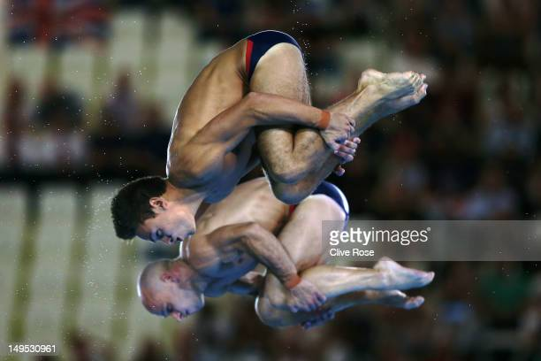 Tom Daley and Peter Waterfield of Great Britain compete in the Men's Synchronised 10m Platform Diving on Day 3 of the London 2012 Olympic Games at...