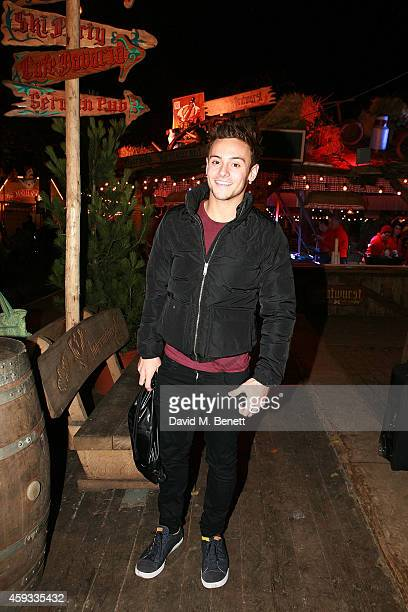 Tom Daley attends the Winter Wonderland VIP opening at Hyde Park on November 20 2014 in London England