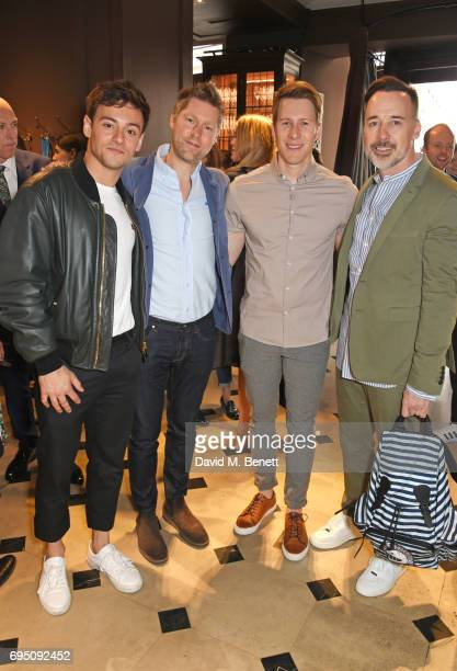 Tom Daley Christopher Bailey Dustin Lance Black and David Furnish attend a breakfast hosted by Christopher Bailey Dame Natalie Massenet and Dylan...