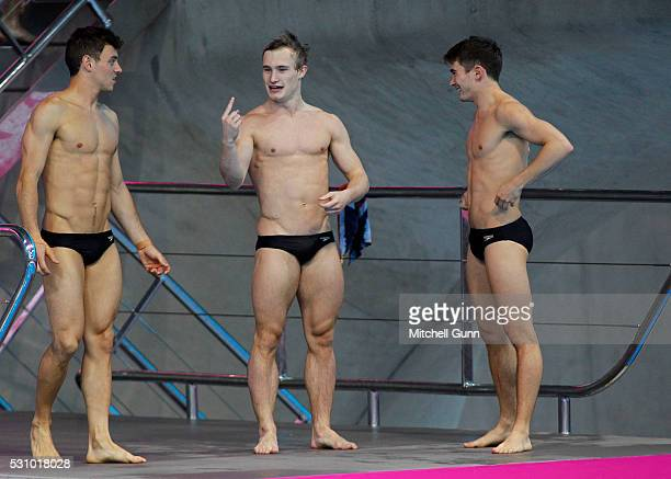 Tom Daley Jack Laugher and Daniel Goodfellow of Great Britain before The Men's 10m Synchro Final on day four of the LEN European Swimming...