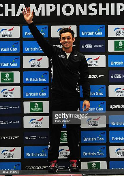 Tom Daley of Dive London Aquatic Centre celebrates on the podium after winning the Mens Platform Final during Day Three of the British Gas Diving...