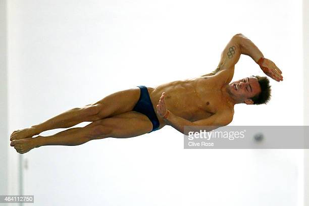 Tom Daley of Dive London Aquatic Centre competes in the Men's 10m Platform Preliminary on day three of the British Gas Diving Championships on...