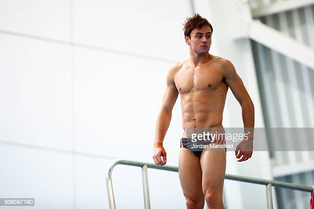 Tom Daley of Dive London Aquatics Club looks on during a practice session during Day Three of the National Diving Cup on January 24 2016 in Southend...