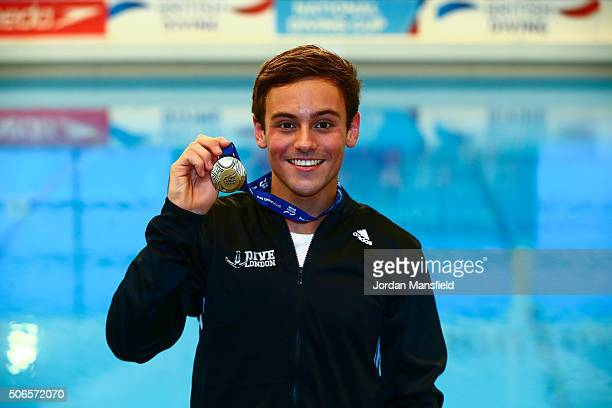 Tom Daley of Dive London Aquatics Club poses with his gold medal after winning the Men's Platform during Day Three of the National Diving Cup on...