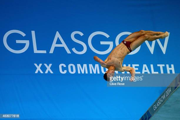 Tom Daley of England attempts the second dive of his six during the Men's 10m Platform Final at the Royal Commonwealth Pool during day ten of the...