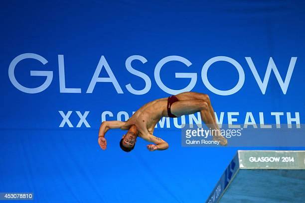 Tom Daley of England competes in the Men's 10m Platform Final at Royal Commonwealth Pool during day ten of the Glasgow 2014 Commonwealth Games on...