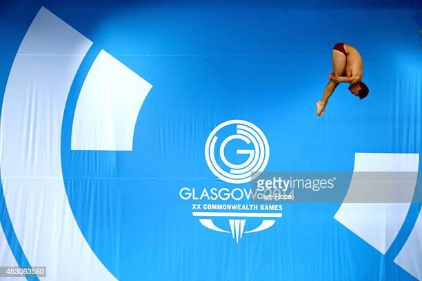 Tom Daley of England competes in the Men's 10m Platform preliminaries at the Royal Commonwealth Pool during day ten of the Glasgow 2014 Commonwealth...