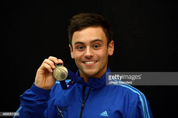 Tom Daley of England holds his gold medal after winning the Mens 10m Platform Final during Day 3 of the British Gas National Cup on February 2 2014...