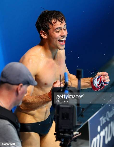 Tom Daley of Great Britain celebrates after he wins the gold medal during the Men's 10M Platform final on day nine of the Budapest 2017 FINA World...