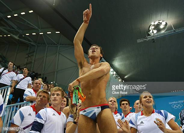 Tom Daley of Great Britain celebrates finishing third in the Men's 10m Platform Diving Final on Day 15 of the London 2012 Olympic Games at the...