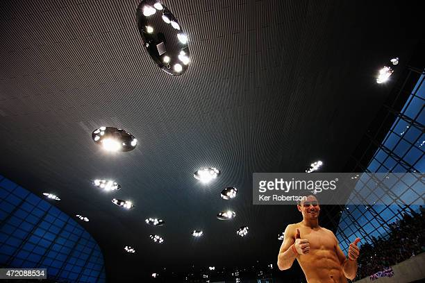 Tom Daley of Great Britain celebrates winning the Men's 10m Final during day 3 of the FINA/NVC Diving World Series at Aquatics Centre on May 3 2015...