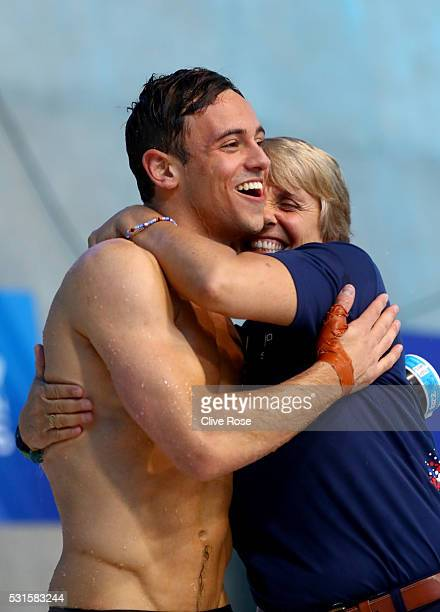 Tom Daley of Great Britain celebrates with Coach Jane Figueiredo after winning the Men's 10m Platform Final on day seven of the 33rd LEN European...