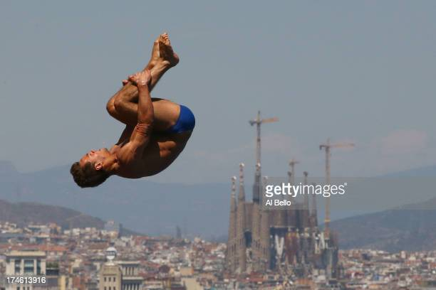 Tom Daley of Great Britain competes during the Men's 10m Platform Diving final on day nine of the 15th FINA World Championships at Piscina Municipal...