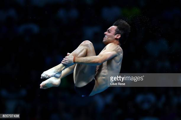 Tom Daley of Great Britain competes during the Men's 10M Platform final on day nine of the Budapest 2017 FINA World Championships on July 22 2017 in...