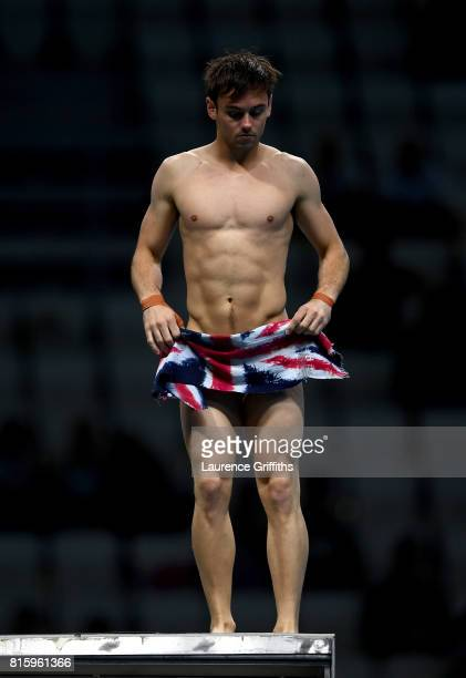 Tom Daley of Great Britain competes during the Men's Diving 10M Synchro Platform preliminary round on day four of the Budapest 2017 FINA World...