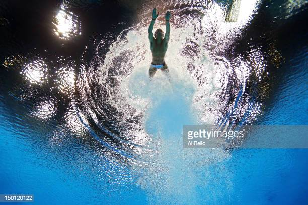 Tom Daley of Great Britain competes in the Men's 10m Platform Diving Preliminary on Day 14 of the London 2012 Olympic Games at the Aquatics Centre on...