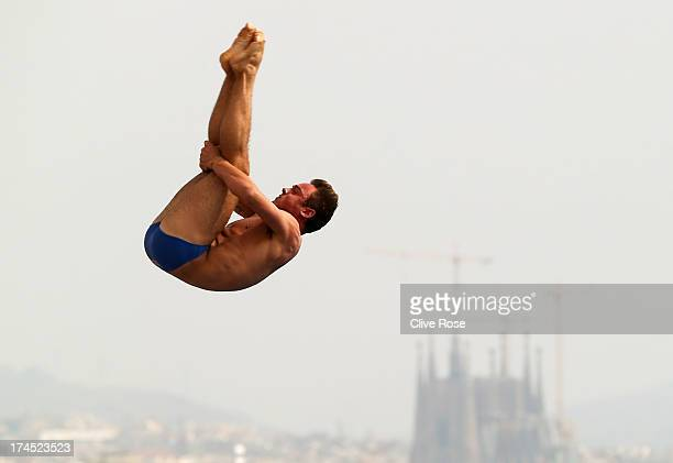 Tom Daley of Great Britain competes in the Men's 10m Platform Diving preliminary round on day eight of the 15th FINA World Championships at Piscina...