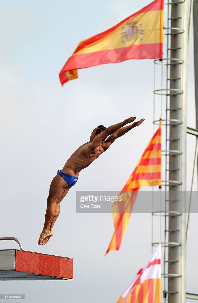 Tom Daley of Great Britain competes in the Men's 10m Platform Diving Semifinal round on day eight of the 15th FINA World Championships at Piscina Municipal de Montjuic on July 27, 2013 in Barcelona, Spain.