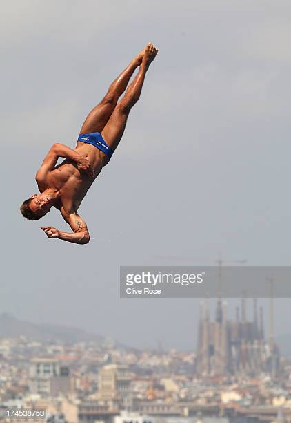 Tom Daley of Great Britain competes in the Men's 10m Platform Diving Semifinal round on day eight of the 15th FINA World Championships at Piscina...