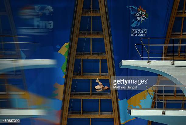 Tom Daley of Great Britain competes in the Men's 10m Platform Diving Semi Finals on day eight of the 16th FINA World Championships at the Aquatics...