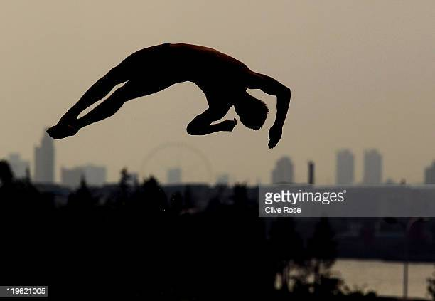 Tom Daley of Great Britain competes in the Men's 10m Platform semi final during Day Eight of the 14th FINA World Championships at the Oriental Sports...