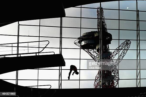 Tom Daley of Great Britain in action during a training session at the London Aquatics Centre on January 22 2014 in London England