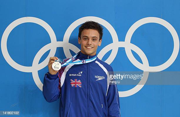 Tom Daley of Great Britain poses with the Silver medal after the Men's 10m Platform Final during day two of the FINA/Midea Diving World Series 2012...