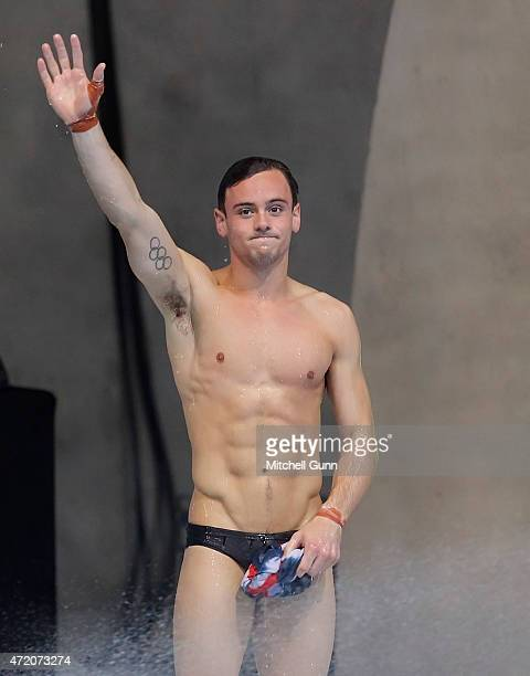 Tom Daley of Great Britain reacts after winning the 10m Platform Mens Final during day three of the FINA/NVC Diving World Series 2015 at the London...