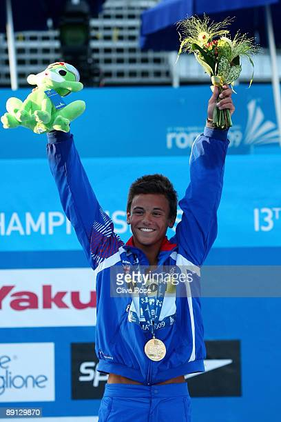 Tom Daley of Great Britain receives the gold medal in the Mens 10m Platform at the Stadio del Nuoto on July 21 2009 in Rome Italy
