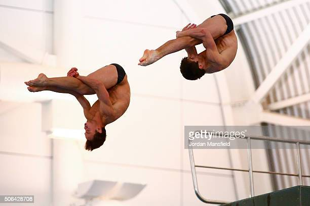 Tom Daley partnering Daniel Goodfellow of Great Britain compete in the Mens 10m Synchro during Day Two of the National Diving Cup on January 23 2016...
