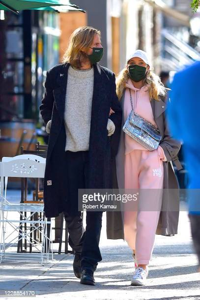 Tom Daly and Elsa Hosk are seen in Manhattan on October 2, 2020 in New York City.