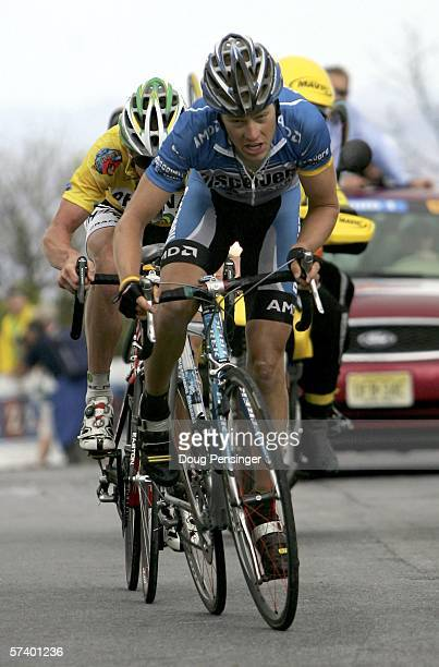 Tom Danielson of the USA and riding for Discovery Channel sprint to the finish ahead of Floyd Landis of the USA and riding for Phonak Hearing Systems...
