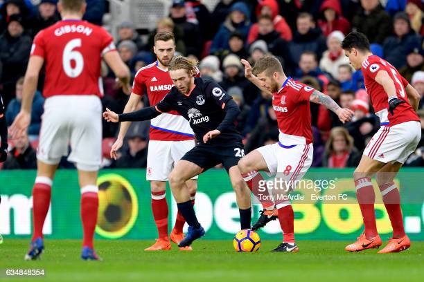 Tom Davies and Adam Clayton challenge for the ball during the Premier League match between Middlesbrough and Everton at the Riverside Stadium on...