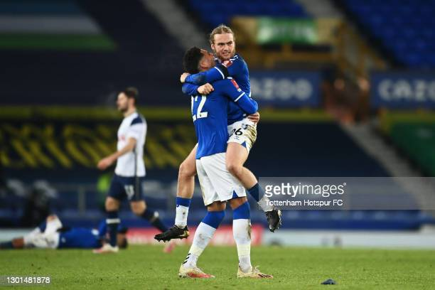 Tom Davies and Ben Godfrey of Everton celebrate their sides victory following The Emirates FA Cup Fifth Round match between Everton and Tottenham...