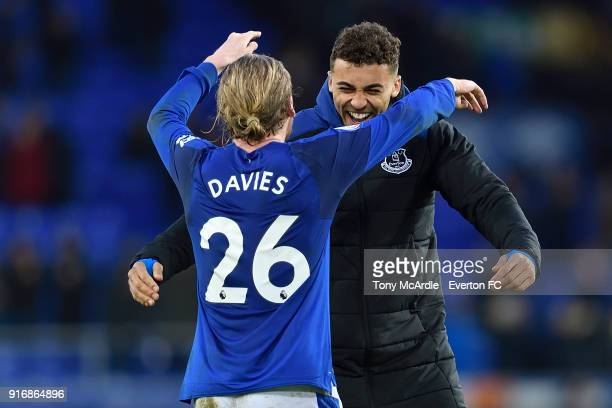 Tom Davies and Dominic CalvertLewin embrace after the Premier League match between Everton and Crystal Palace at Goodison Park on February 10 2018 in...