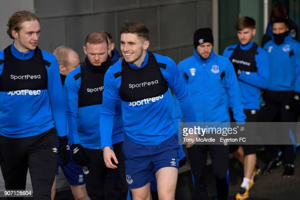 Tom Davies and Jonjoe Kenny during the Everton FC training session at USM Finch Farm on January 19 2018 in Halewood England
