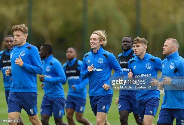 Tom Davies and Jonjoe Kenny during the Everton training session at USM Finch Farm on October 13 2017 in Halewood England
