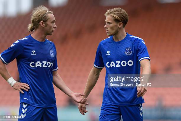 Tom Davies and Lewis Gibson of Everton during the pre-season friendly match between Blackpool and Everton at Bloomfield Road on August 22 2020 in...