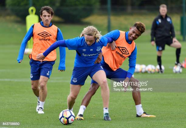 Tom Davies and Mason Holgate of Everton compete for the ball during the Everton FC training session at USM Finch Farm on September 7 2017 in Halewood...