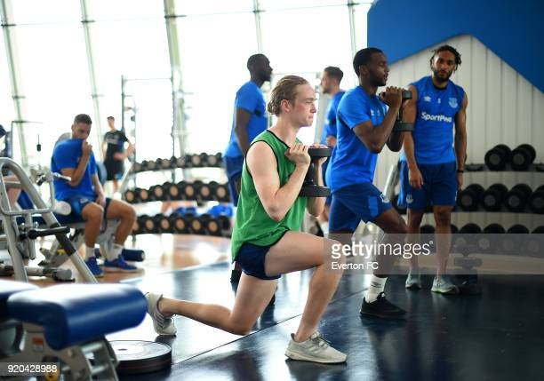 Tom Davies exercises during the Everton warm weather training camp at NAS Sports Complex on February 17 2018 in Dubai United Arab Emirates