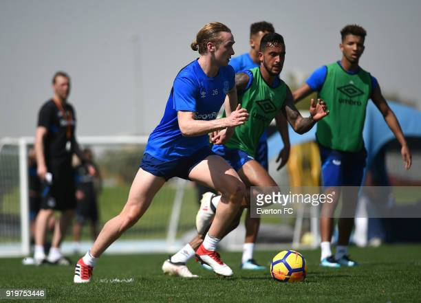 Tom Davies in action during the Everton warm weather training camp at NAS Sports Complex on February 17 2018 in Dubai United Arab Emirates