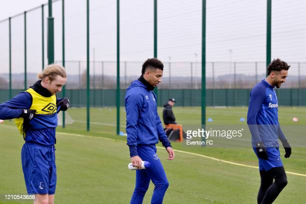 Tom Davies Mason Holgate and Dominic CalvertLewin during the Everton Training session at USM Finch Farm on March 4 2020 in Halewood England