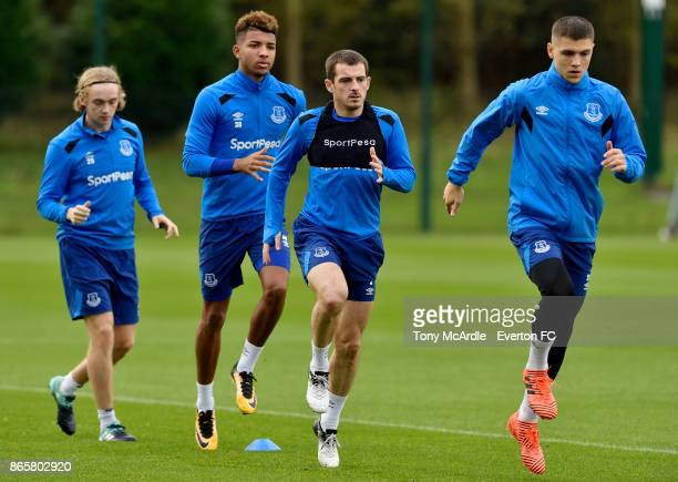 Tom Davies Mason Holgate Leighton Baines and Muhamed Besic during the Everton training session at USM Finch Farm on October 24 2017 in Halewood...