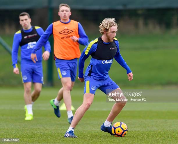 Tom Davies Matthew Pennington and Seamus Coleman during the Everton FC training session at USM Finch Farm on February 9 2017 in Halewood England
